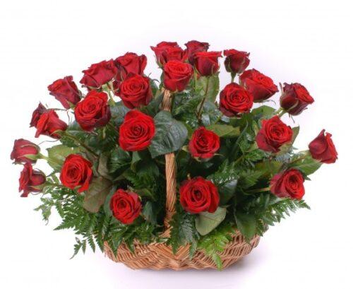 Cesta de 30 rosas rojas